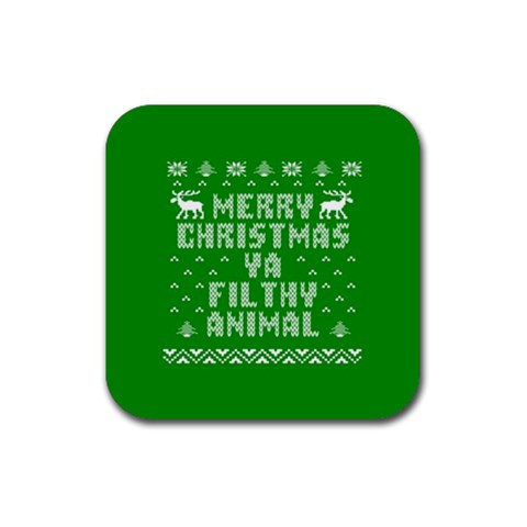 Ugly Christmas Ya Filthy Animal Rubber Square Coaster (4 pack)