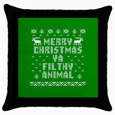 Ugly Christmas Ya Filthy Animal Throw Pillow Case (Black)