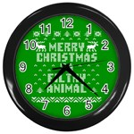 Ugly Christmas Ya Filthy Animal Wall Clocks (Black) Front