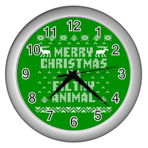 Ugly Christmas Ya Filthy Animal Wall Clocks (Silver)