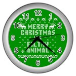 Ugly Christmas Ya Filthy Animal Wall Clocks (Silver)  Front