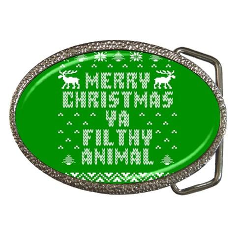 Ugly Christmas Ya Filthy Animal Belt Buckles