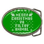 Ugly Christmas Ya Filthy Animal Belt Buckles Front