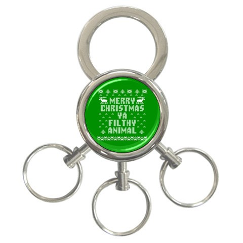 Ugly Christmas Ya Filthy Animal 3-Ring Key Chains