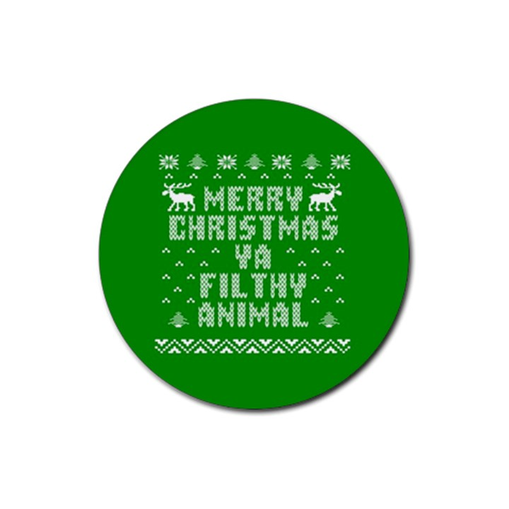 Ugly Christmas Ya Filthy Animal Rubber Coaster (Round)