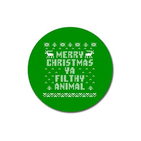 Ugly Christmas Ya Filthy Animal Magnet 3  (Round)
