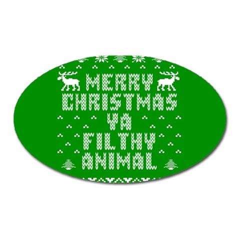 Ugly Christmas Ya Filthy Animal Oval Magnet