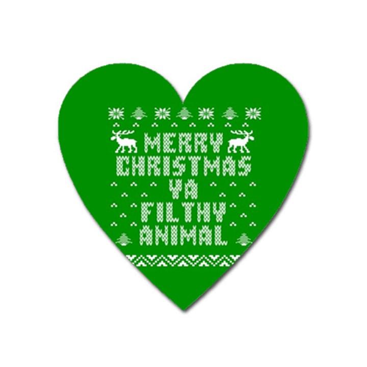 Ugly Christmas Ya Filthy Animal Heart Magnet
