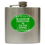 Ugly Christmas Ya Filthy Animal Hip Flask (6 oz) Front