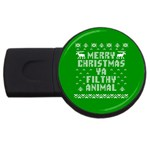 Ugly Christmas Ya Filthy Animal USB Flash Drive Round (2 GB)  Front