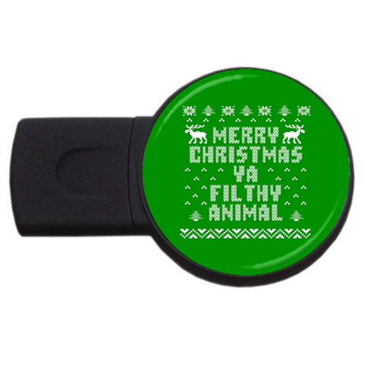 Ugly Christmas Ya Filthy Animal USB Flash Drive Round (1 GB)