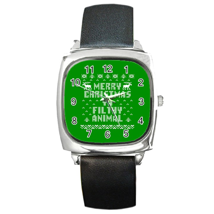 Ugly Christmas Ya Filthy Animal Square Metal Watch