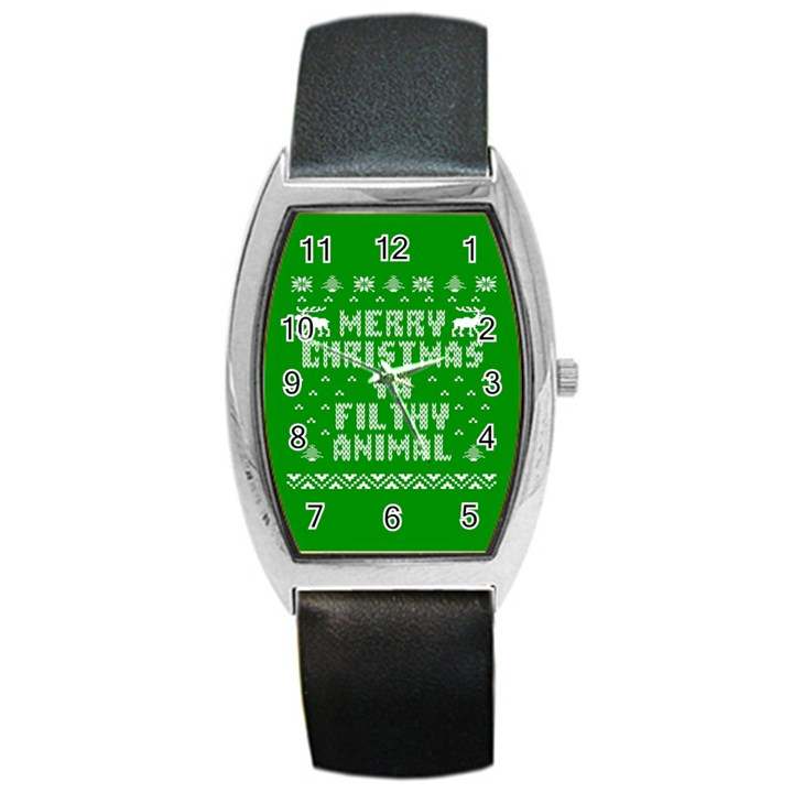 Ugly Christmas Ya Filthy Animal Barrel Style Metal Watch