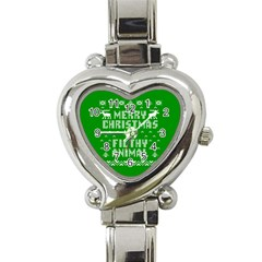 Ugly Christmas Ya Filthy Animal Heart Italian Charm Watch