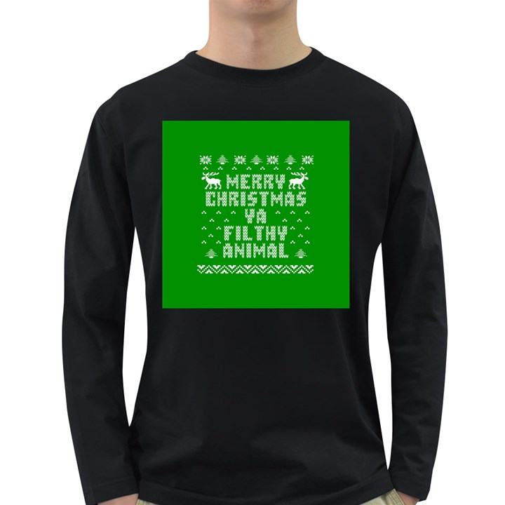 Ugly Christmas Ya Filthy Animal Long Sleeve Dark T-Shirts