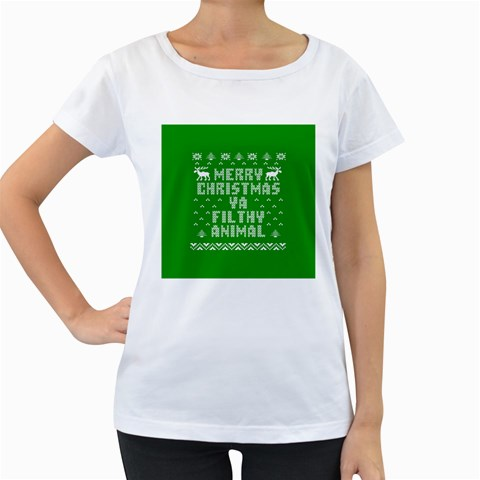 Ugly Christmas Ya Filthy Animal Women s Loose-Fit T-Shirt (White)