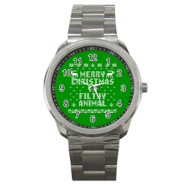 Ugly Christmas Ya Filthy Animal Sport Metal Watch