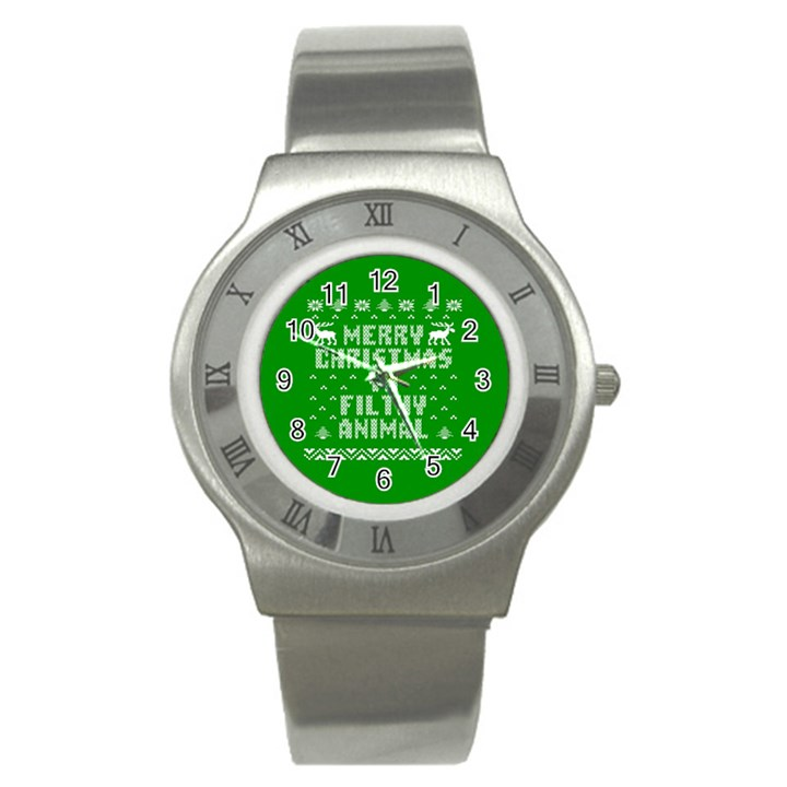 Ugly Christmas Ya Filthy Animal Stainless Steel Watch