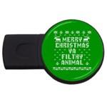 Ugly Christmas Ya Filthy Animal USB Flash Drive Round (4 GB)  Front