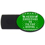 Ugly Christmas Ya Filthy Animal USB Flash Drive Oval (4 GB)  Front