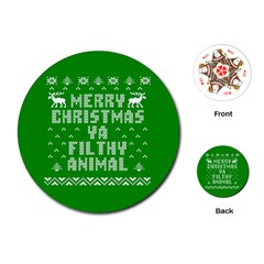 Ugly Christmas Ya Filthy Animal Playing Cards (Round)