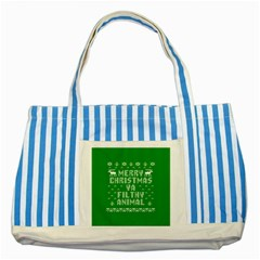 Ugly Christmas Ya Filthy Animal Striped Blue Tote Bag