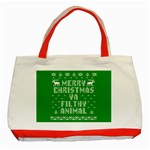 Ugly Christmas Ya Filthy Animal Classic Tote Bag (Red) Front