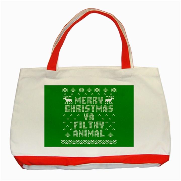 Ugly Christmas Ya Filthy Animal Classic Tote Bag (Red)