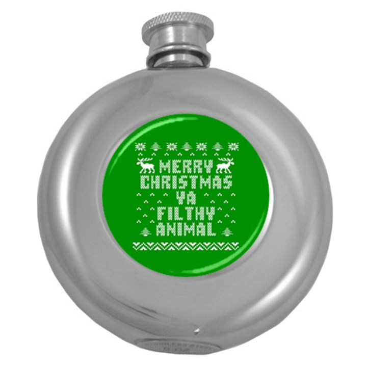Ugly Christmas Ya Filthy Animal Round Hip Flask (5 oz)