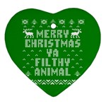 Ugly Christmas Ya Filthy Animal Heart Ornament (2 Sides) Back