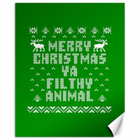 Ugly Christmas Ya Filthy Animal Canvas 16  x 20