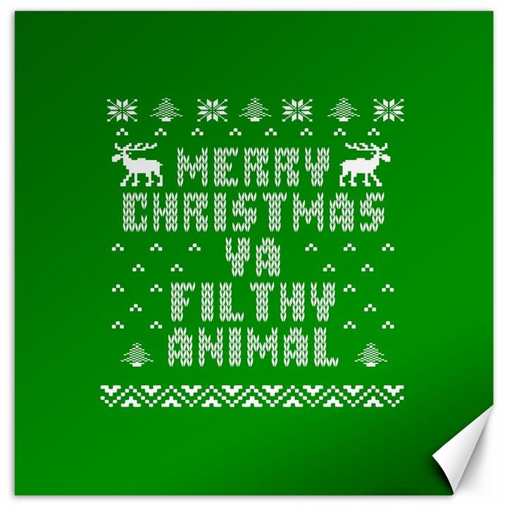 Ugly Christmas Ya Filthy Animal Canvas 20  x 20