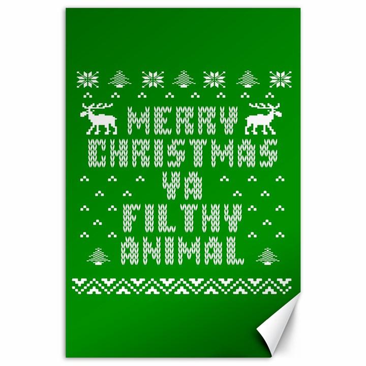 Ugly Christmas Ya Filthy Animal Canvas 24  x 36