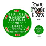 Ugly Christmas Ya Filthy Animal Playing Cards 54 (Round)  Front - Heart9