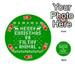 Ugly Christmas Ya Filthy Animal Playing Cards 54 (Round)  Front - HeartK