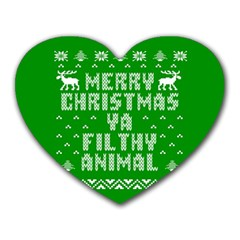 Ugly Christmas Ya Filthy Animal Heart Mousepads