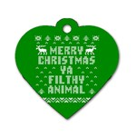 Ugly Christmas Ya Filthy Animal Dog Tag Heart (Two Sides) Front