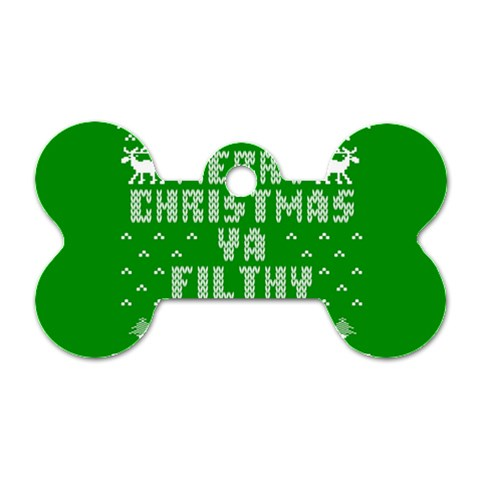 Ugly Christmas Ya Filthy Animal Dog Tag Bone (One Side)