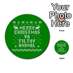 Ugly Christmas Ya Filthy Animal Multi Purpose Cards (round)