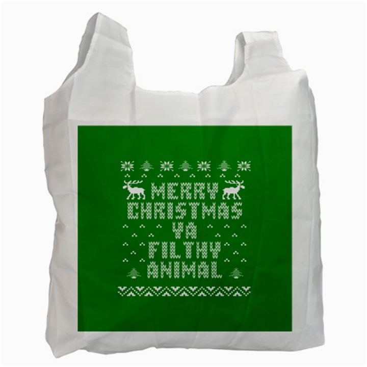 Ugly Christmas Ya Filthy Animal Recycle Bag (Two Side)