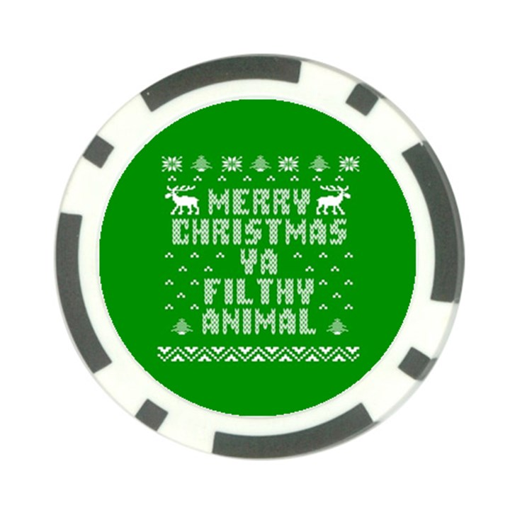 Ugly Christmas Ya Filthy Animal Poker Chip Card Guards (10 pack)