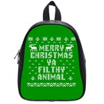Ugly Christmas Ya Filthy Animal School Bags (Small)  Front