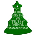Ugly Christmas Ya Filthy Animal Christmas Tree Ornament (2 Sides) Front