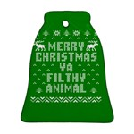Ugly Christmas Ya Filthy Animal Bell Ornament (2 Sides) Back
