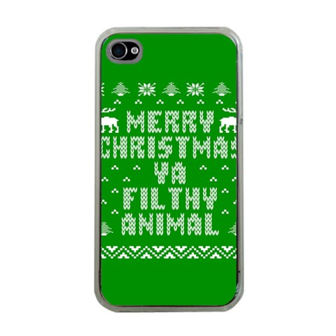 Ugly Christmas Ya Filthy Animal Apple iPhone 4 Case (Clear)