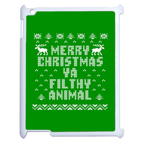 Ugly Christmas Ya Filthy Animal Apple iPad 2 Case (White)