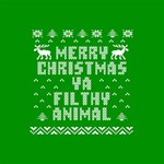 Ugly Christmas Ya Filthy Animal Twin Heart Bottom 3D Greeting Card (8x4) Inside