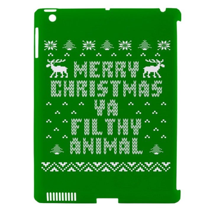 Ugly Christmas Ya Filthy Animal Apple iPad 3/4 Hardshell Case (Compatible with Smart Cover)