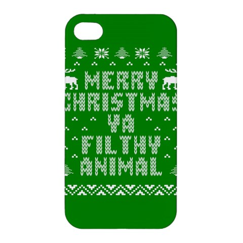 Ugly Christmas Ya Filthy Animal Apple iPhone 4/4S Premium Hardshell Case