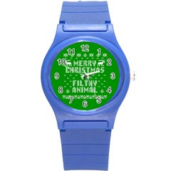 Ugly Christmas Ya Filthy Animal Round Plastic Sport Watch (S)